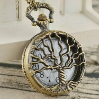 Antique Steampunk Pocket Watch Hollow Tree Full Hunter Necklace Quartz Movement