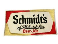 """Vintage Schmidt's Philadelphia Beer Ale Uniform Embroidered 9"""" Patch LARGE NOS"""
