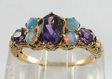 LARGE 9CT GOLD VICTORIAN INS AFRICAN AMETHYST & AUS OPAL RING FREE RESIZE