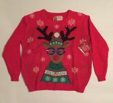 Reindeer Christmas Sweater Glasses Ugly Sweater Sequin