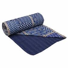 Indian Handmade Patchwork Queen Cotton Kantha Quilt Throw Blanket Gudari Vintage