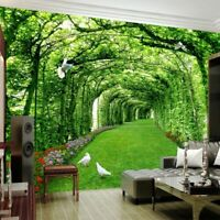 Wall Coverings Backdrop Wallpaper 3D Green Forest Tree Design Mural For Interior