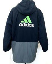 Adidas Men Three Stripe XL Hoodie Quilted Nylon Windbreaker Jacket Vintage Blue