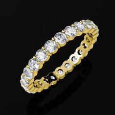 4Ct Round Cut Brilliant Eternity Wedding Ring 14K Yellow Gold Sizes 6-8