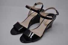 PRADA-Black Patent Leather Wedge Heel Sandals Pumps Size 39/9 (3751)