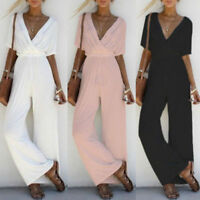 Women Short Sleeve Playsuit Jumpsuit Romper V Neck Overall Long Pants Trousers