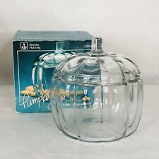 ANCHOR HOCKING Glass Pumpkin Jar Scalloped Vintage Cookie With Lid Box
