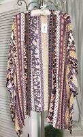 NEW Plus Size 1X Gold Purple Floral Open Mirror Boho Duster Kimono Topper