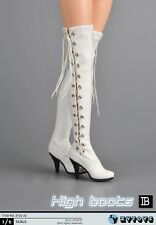 ZY TOYS COOL GIRL Female White High Boots w/ Joint 1/6 Fit for Phicen Kumik body