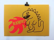 Wonky Dino Two Colour Risograph Print (Affordable Art - Riso - Dinosaur)