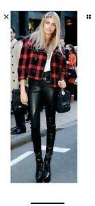 Helmut Lang Black Leather & Jersey Combo Leggings Pants Skinny Stretch Sz 6