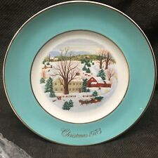 "1973 Avon Christmas Collectors Plate ""Christmas on the Farm"" by Enoch Wedgwood"