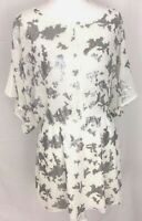 DOLCE VITA WOMEN'S TUNIC TOP SIZE LARGE WHITE SILVER SEQUINS COTTON