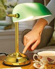 """Traditional Style Bankers Touch Bedside Table Brass Base Lamp Glass Shade H 12"""""""