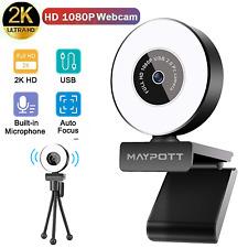 2K HD 1080P Webcam Web Camera w/ Adjustable Ring Light+Tripod Microphone for PC