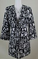 KASPER~Women's Size 10~White/Black Open-Front Blazer Jacket  Long.