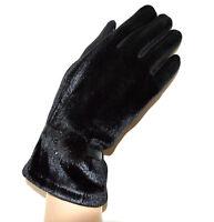 GUANTES NEGROS mujer terciopelo elegante invierno pon pon cálido luvas gloves G3