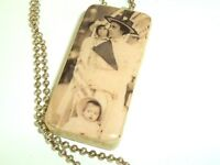 Handmade necklace Vtg Domino decoupage recycle image of baby woman in hats