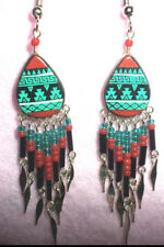 BEADED HANDPAINTED EARRINGS FROM PERU SURGICAL  TURQUOISE/RED/BLK FREE SHIP USA