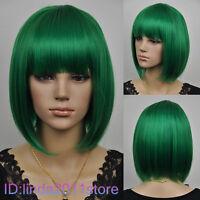 Hot fashion short green supple straight woman wig + Free wig cap NO:A34