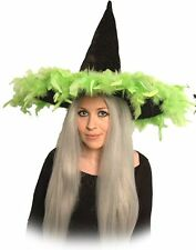 New Velour Black Witch Hat With Feather Trim Halloween Fancy Dress - Various