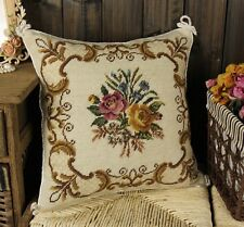 "16"" Needlepoint Pillow Cushion Beautiful Yellow Red Roses Floral Bouquet"