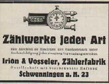 SCHWENNINGEN, Werbung / Anzeige 1930, Irion & Vosseler Zählerfabrik Zählwerke