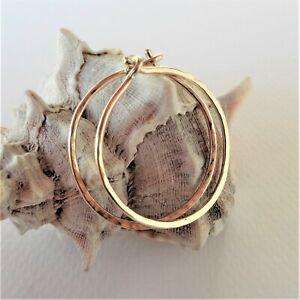 Hoop Earrings Hammered 14K Solid Gold