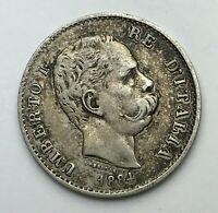 Dated : 1884 - Silver Coin - Italy - One Lira - 1 Lira - Umberto I