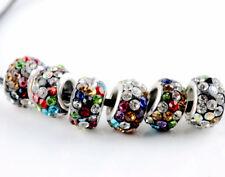 20PCS Silver Murano Glass Beads Lampwork Fit European Charm Bracelet DIY