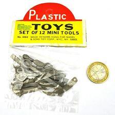 Plastik Miniatur Werkzeug 12 Teile - Vintage USA original 1960er Spielzeug