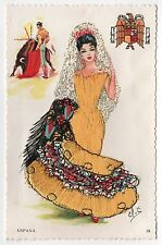 ESPANA SPAlN PC Postcard EMBROIDERED Elsi Gumier EMBROIDERY Fabric BULLS Bull