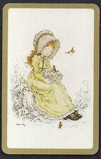 #920.327 Vintage Swap Card -MINT- Sarah Kay, Girl in yellow, gold border