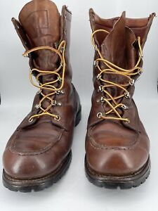 Red Wing Irish Setter Sport Boots Men's 8 Brown Leather Moc Toe Lace Up Boots