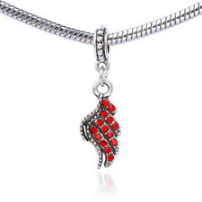 Retro Silver Angel Feather Wings Red CZ Dangle Charm Bead For Bracelet Necklace