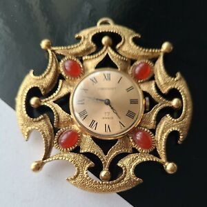 """Vintage Corocraft Gold Tone Glass Cabs Watches Pendant For Parts Repair 2.75""""T"""