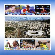 Central African Republic 2016 CTO Rio Olympics 6v M/S Usain Bolt Mo Farah Stamps