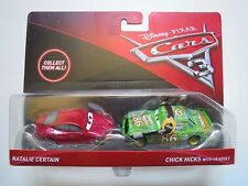 Cars 3 - Personaggi Natalie Certain e Chick Hicks con Cuffie metallo Mattel 1 55