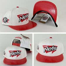 new concept 0f39a c2789 Mitchell   Ness NBA White   Red Brooklyn Nets Adjustable snapback Hat Cap