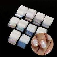 10* Holographic Nail Art Foil Gradient Transparent AB Color Transfer Sticker New