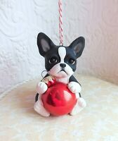 Boston Terrier Christmas Ornament Sculpted Dog Collectible gift Furever Clay