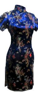 UK Stock Navy Blue Dragon & Phoenix Chinese Short Evening Party Dress Qipao