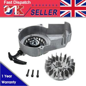 Engine Pull Start Pullstarter & Flywheel 2 Stroke 47 49cc Mini Motor Quad Silver