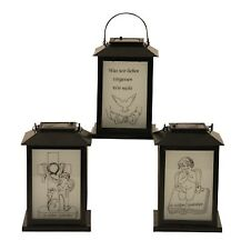 Solar LED Garden Grave Decorations Metal Lantern Angel with Book Cemetery 21 cm