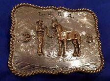 VTG Sterling Silver 1974 L.J.R.A. Rodeo Cowboy Trophy Western Horse Belt Buckle