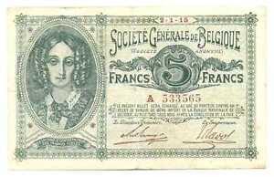 Belgium German Occupation WWI Societe Generale de Belgique 5 Francs 1915 F/VF