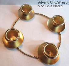 """5.5"""" Advent Ring / Wreath, Rope Look, Gold-Plated, (Candles Sold Separately)"""