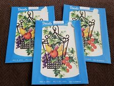 3 Meyercord Decals Wire Hanging Basket Container Colorful Fruit Bounty #X158B