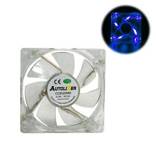 Blue Quad 4-LED Neon Light Quite Clear 80mm PC Computer Case Cooling Fan Mod