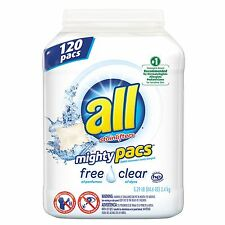 all Mighty Pacs Free & Clear Laundry Detergent (120 ct.) NEW NEW NEW